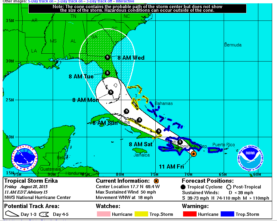 Tropical Storm Erika - 5 Day Cone